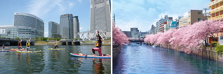 SUP(Stand Up Paddleboard)やEボート(手漕ぎボート)といった水上アクティビティを大岡川で楽しめるようにする(イメージ)