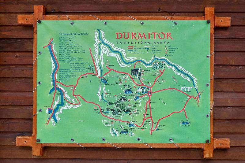 ドゥルミトル国立公園のマップ。中央やや右寄りの「Ž」のサインがジャブリャクの街
