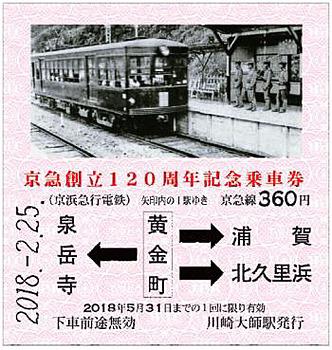 京急創立120周年記念乗車券(イメージ)