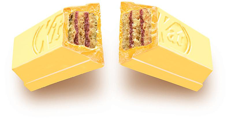 外側のチョコレートは饅頭風の薄い茶褐色、中のウエハースには小倉パウダー入りクリームをサンドしている