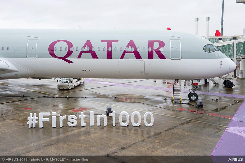 エアバスは、エアバス A350-1000型機の初号機をカタール航空に引き渡した