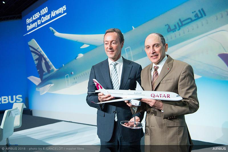 A350-1000型機はフランス・トゥールーズで引き渡され、記念式典が開催された