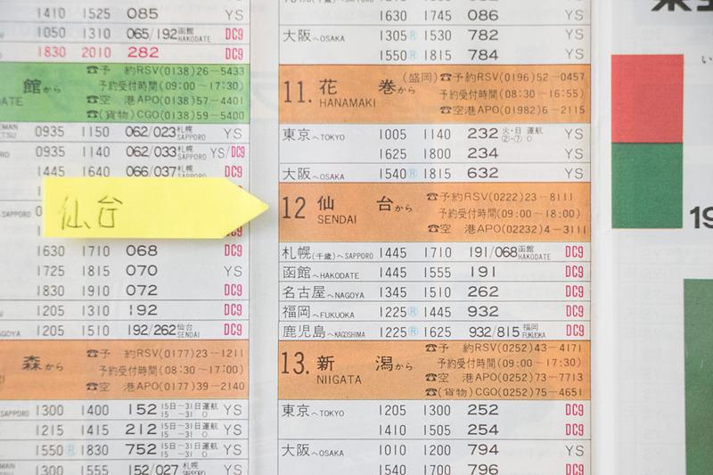 東亜国内航空の1978年3月の時刻表。仙台空港の発着便に福岡も