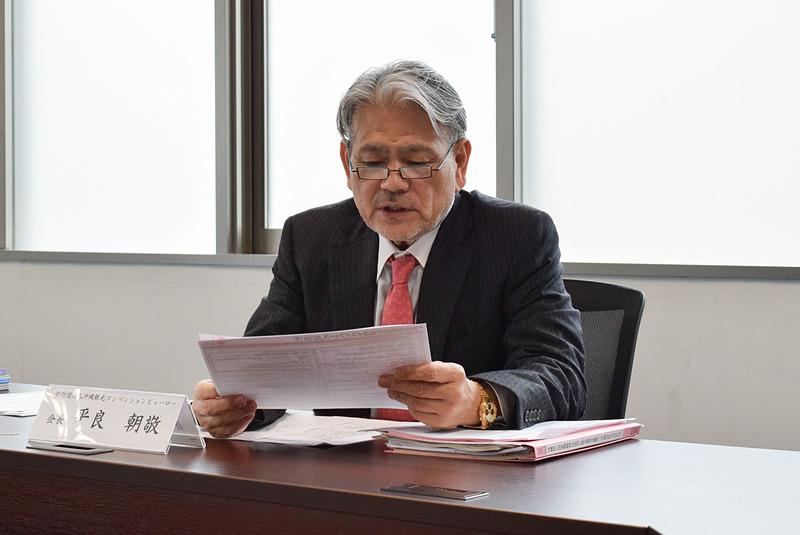 沖縄観光コンベンションビューローが2月の定例記者懇談会を実施。報告を行なう会長の平良朝敬氏