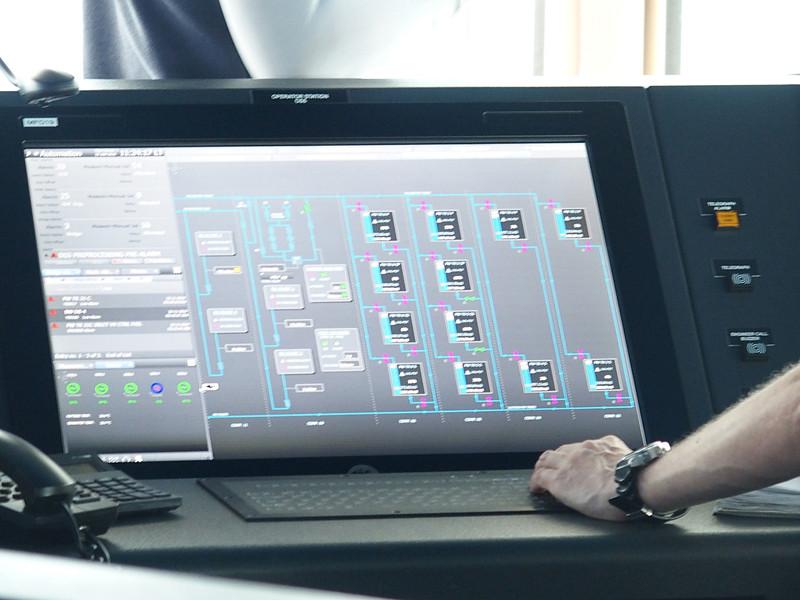 多目的ディスプレイには船内系統図とバルブ動作状況の監視画面を表示
