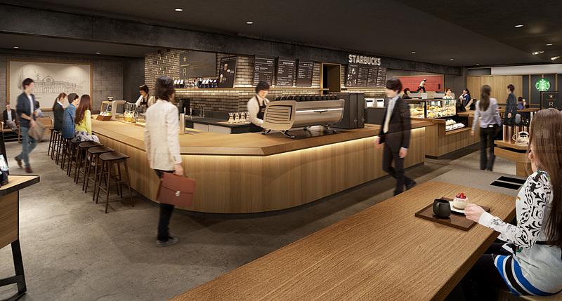 「スターバックス コーヒー LUCUA osaka地下2階店」は270.71m<sup>2</sup>のスペースに90席。スターバックス リザーブバーでは特別な限定メニューを、クラシック バーではレギュラーメニューを提供する