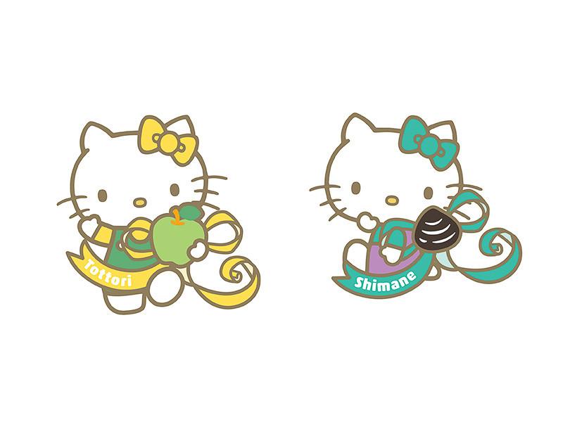 1号車の地域PRスペースではご当地キティもPRを手伝う「鳥取キディ」(左)「島根キティ」(右)