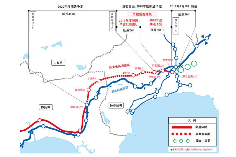 新東名高速 厚木南IC~伊勢原ICは2018年度、伊勢原JCT~伊勢原北ICは2019年度開通の見通し