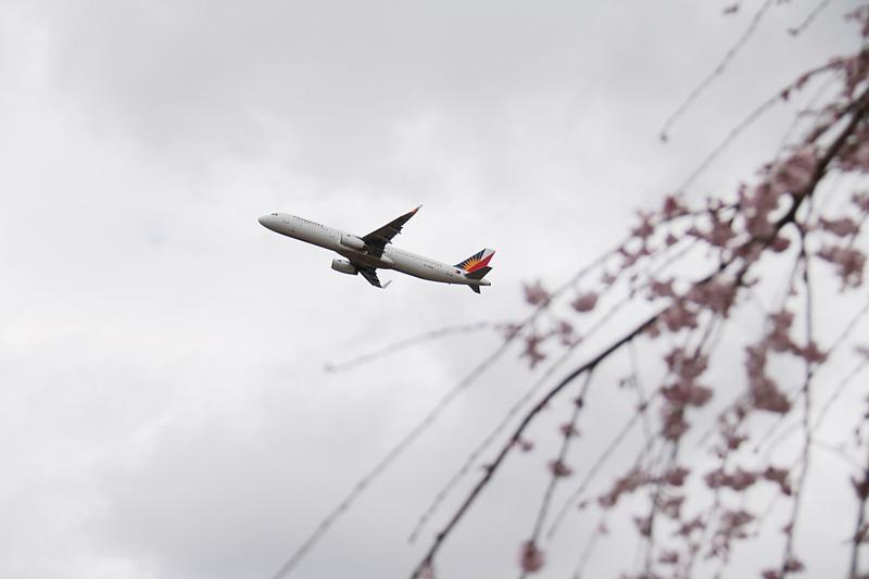 さくらの山の駐車場から撮影。さくらの山の近くを京成電鉄が通っているので、運がよければ飛行機と京成スカイライナーを同時に撮れるかもしれない