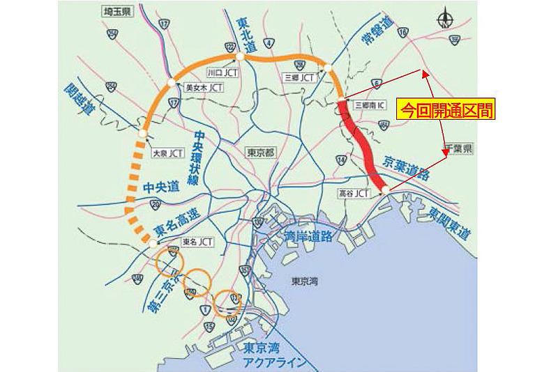 6月2日に東京外かく環状道路 三郷南IC~高谷JCTが開通する