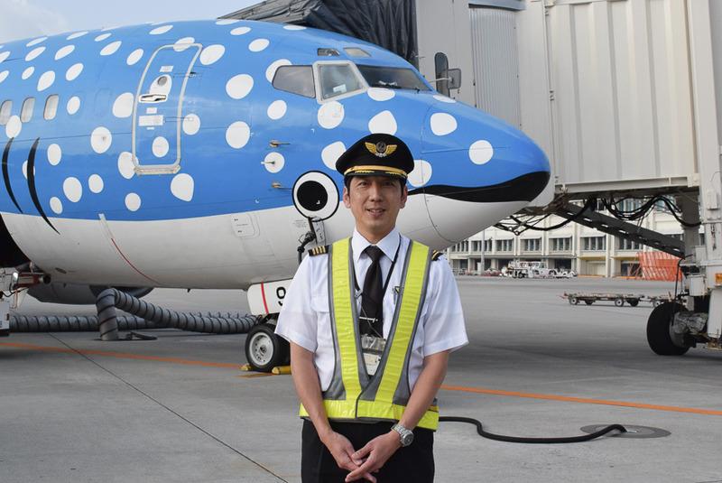 ジンベエジェット発案者の佐々木敏文氏。この日、初代ジンベエジェットの機長を務めた