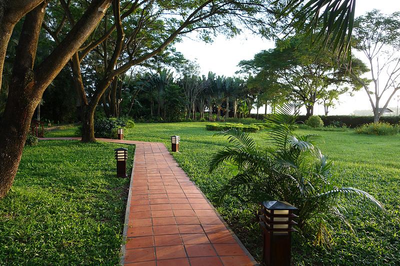 朝のお散歩。ホテルの目の前の川沿いには遊歩道があります