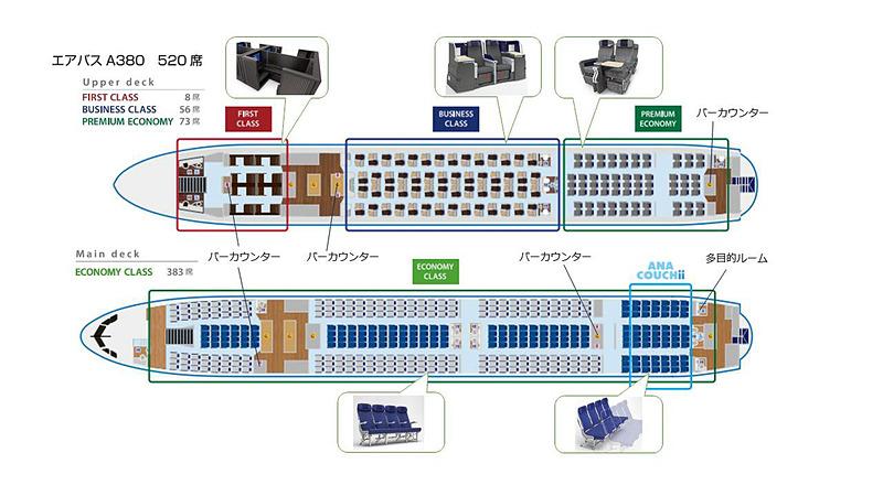 ANAのエアバス A380型機のシートマップ。ファーストクラスのほか、カウチシートの「ANA COUCHii」を採用