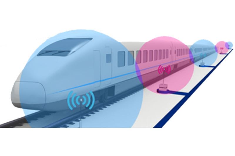 NICTが発表した高速鉄道で走行中でもネットワークが切れない技術のイメージ