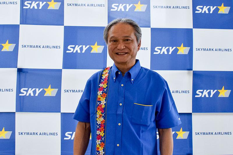 スカイマーク株式会社 代表取締役社長 市江正彦氏もかりゆしウェアで参加