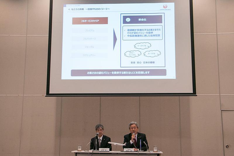 JALの西尾忠男氏がスライドとともに新会社について説明した