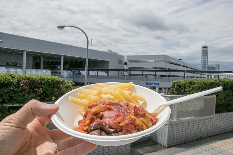 ブラジル料理ブースで購入したシュラスコプレートは、肉の旨味と野菜のソースがあいまってとても美味だった