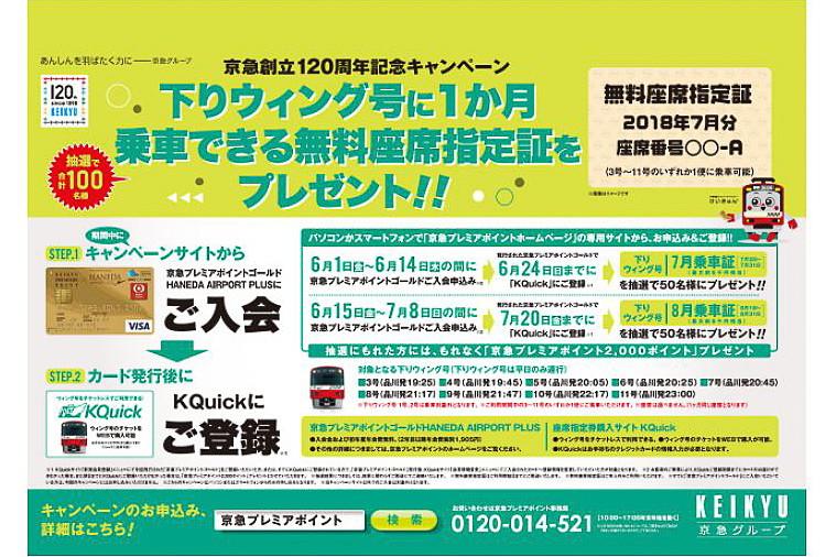 京急は6月1日から7月8日まで「下りウィング号に1カ月乗車できる無料座席指定証」を抽選でプレゼントするキャンペーンを実施する