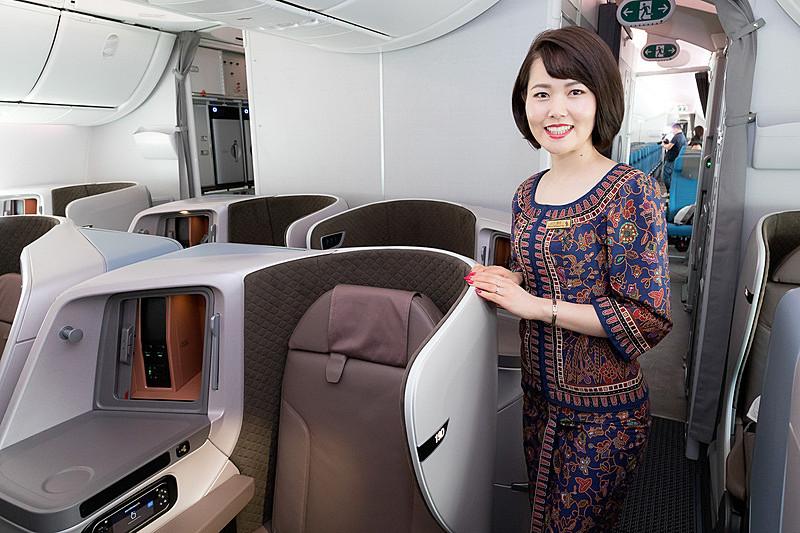 シンガポール航空のボーイング 787-10型機のビジネスクラス