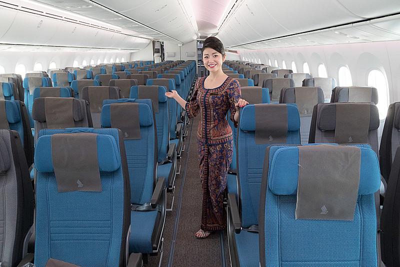 シンガポール航空のボーイング 787-10型機のエコノミークラス