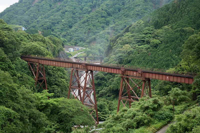 鉄道橋としては日本最長のトレッスル橋となる南阿蘇鉄道の立野橋梁。この区間は現在も運休中