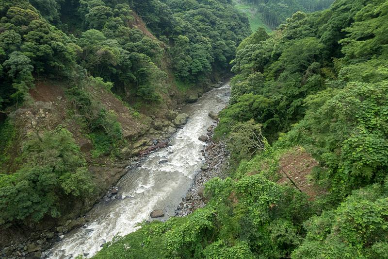 アーチ橋の骨組みや北向き山原生林を流れる白川など、構造物も自然の景色も同時に楽しめる