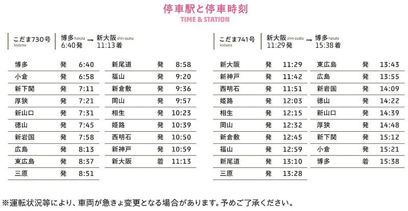 「ハローキティ新幹線」の運行ダイヤ