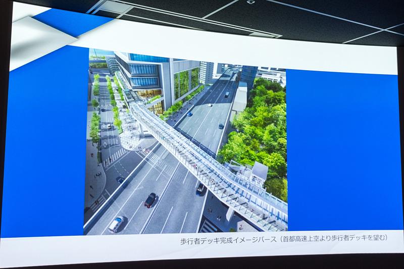 歩行者デッキのイメージなど。浜松町駅と業務棟を結ぶ約240mの区間は約15mの橋脚に支えられた桁橋構造の歩行者デッキとなる