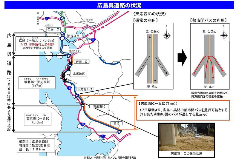 国交省とNEXCO西日本は、広島呉道路 天応西IC~呉IC間において、都市間バスの通行を可能とする運用を7月17日の始発から開始する