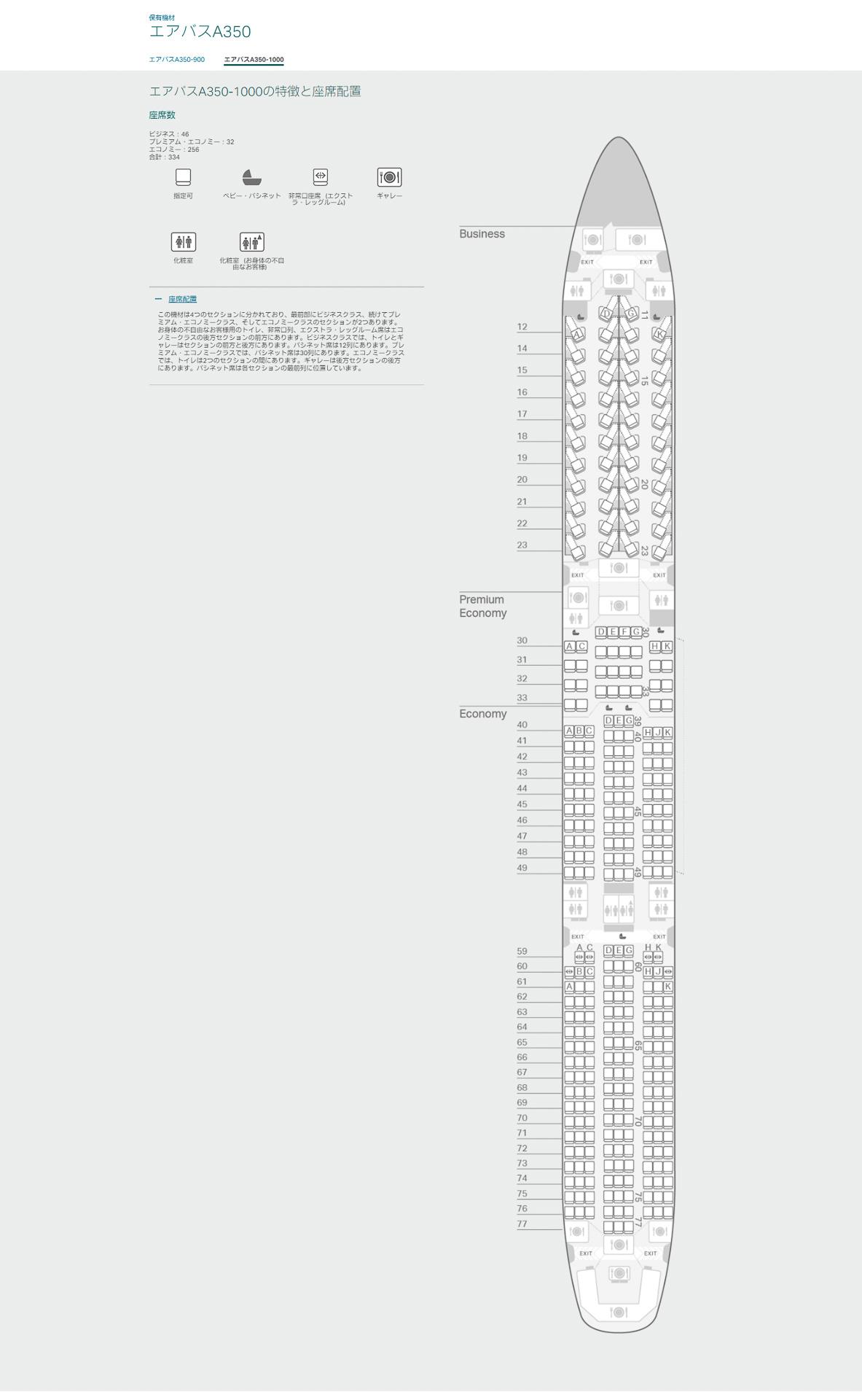 キャセイパシフィック航空のエアバス A350-1000型機シートマップ(同社Webサイトより)