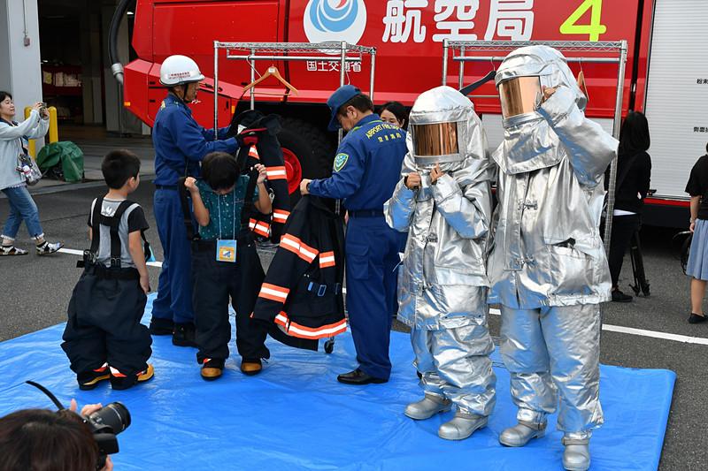 防火服の着用体験