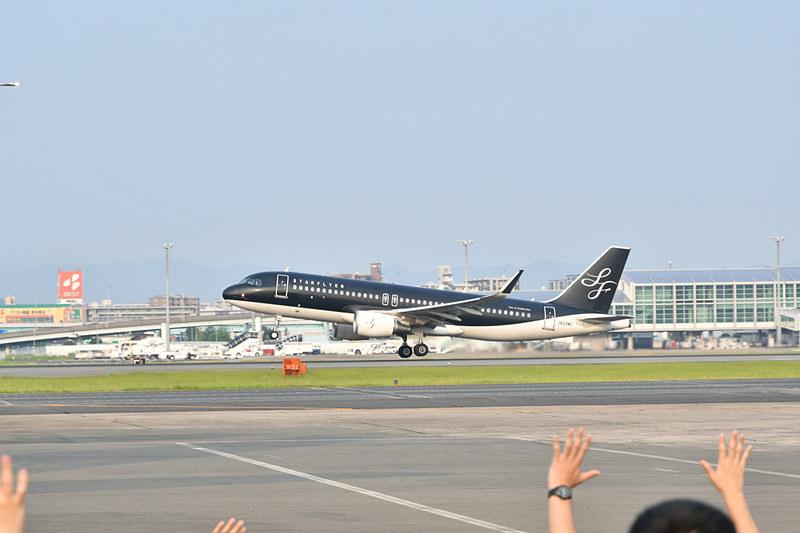 この日の第1便はスターフライヤーのSFJ40便
