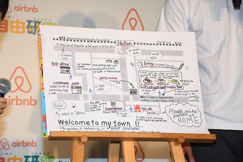 川上拓土くんが作成した自宅周辺の英語案内図を使って、ユージさんと2人でシミュレーション