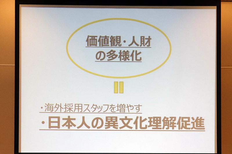 海外採用スタッフを増やすだけでなく、日本人が異文化を理解することが必要だと説明