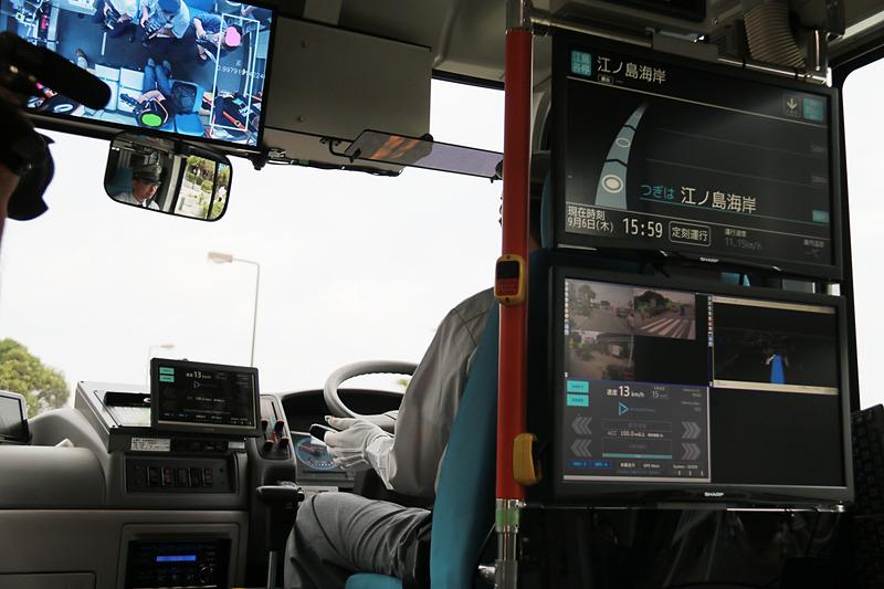 走行中、ドライバーの背後に設置してあるモニターには、自動運転システムが検出している歩行者などが緑の枠、自動車は赤い枠で表示していた。また、乗客が立ち上がったり車内を歩いたりすると、モニターに軌跡が表示され、乗客を遠隔で見守るシステム「Dispatcher」を通じて注意を促すなどの会話も可能とのこと