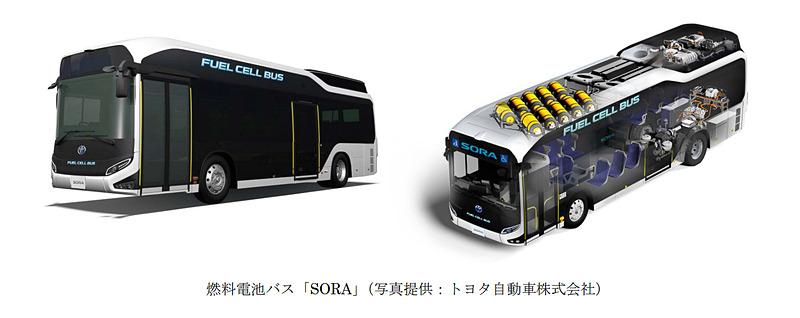 トヨタ自動車のFCバス「SORA」