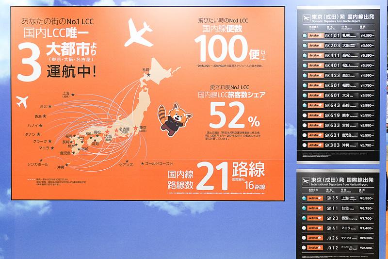 ジェットスターの路線案内パネル。海外路線も多い。高知~成田線、高知~関空線を12月19日から運航開始