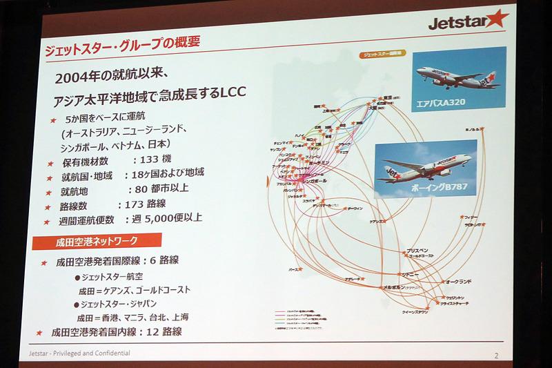 ジェットスター・ジャパンは成田国際空港発着の国際線として6路線、国内線は12路線を展開する