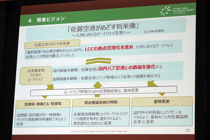 九州佐賀国際空港が目指す将来像。LCCの拠点空港化を進めるとしている