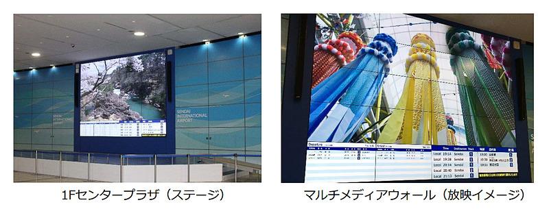 拡充される1階センタープラザステージと、55インチ×20面のマルチメディアウォール