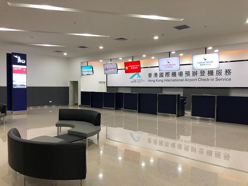 珠海の入出境手続き施設にあるチェックインカウンター