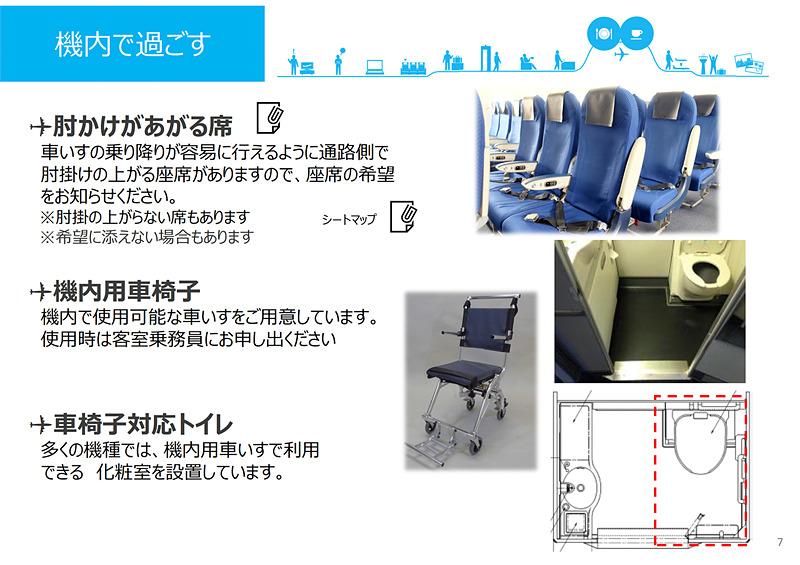 出発から機内、降機まで、飛行機利用の一連の流れのなかでのユニバーサル/バリアフリーなサービスを紹介