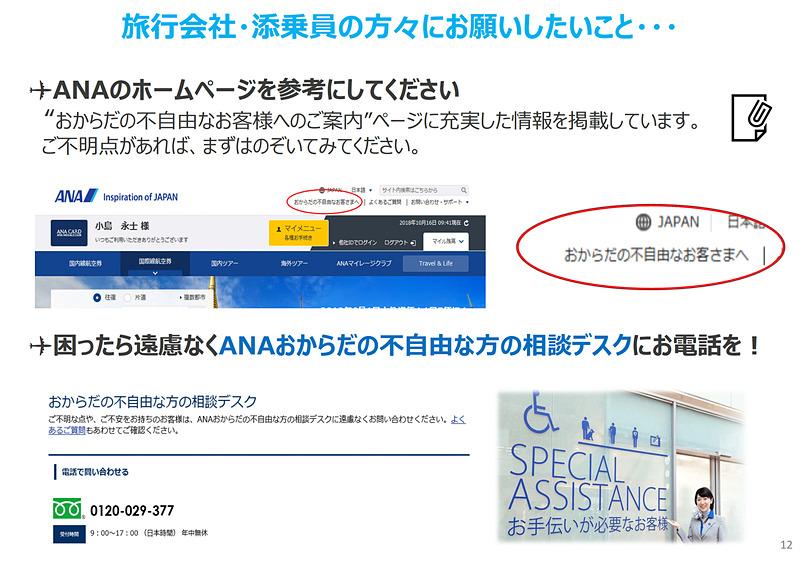 ANAのWebサイトや「おからだの不自由な方の相談デスク」への相談を促した