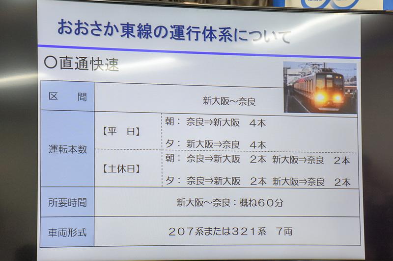 直通快速の概要。新大阪駅~奈良駅間は約60分