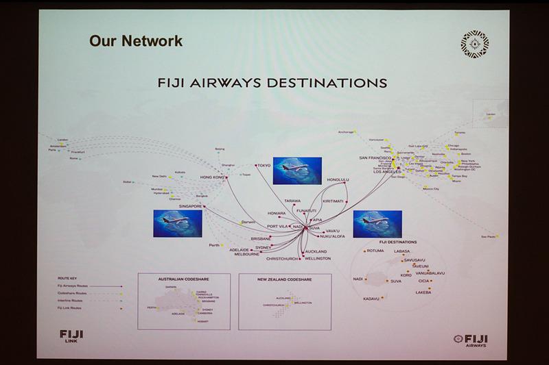 フィジー・エアウェイズの就航先を示したマップ