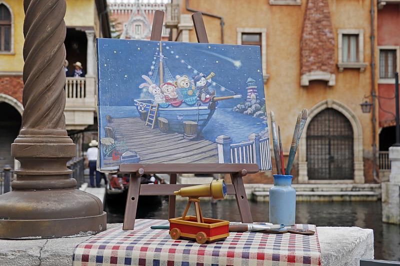 ジェラトーニが「星の見える冬の夜の思い出」を描いた絵がパラッツォ・カナルに展示中