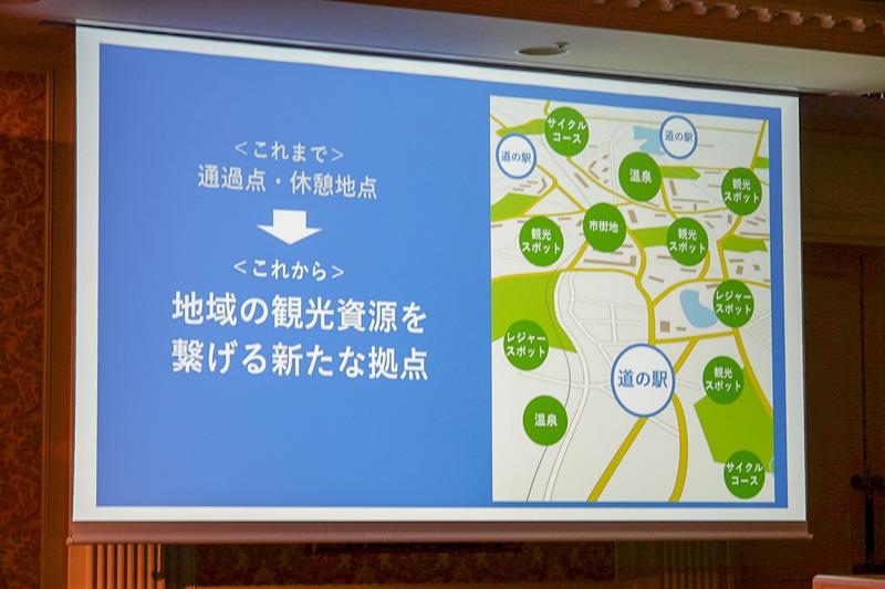 道の駅を、これまでの通過点、休憩地点から地域の観光資源をつなげる新たな拠点として位置付ける