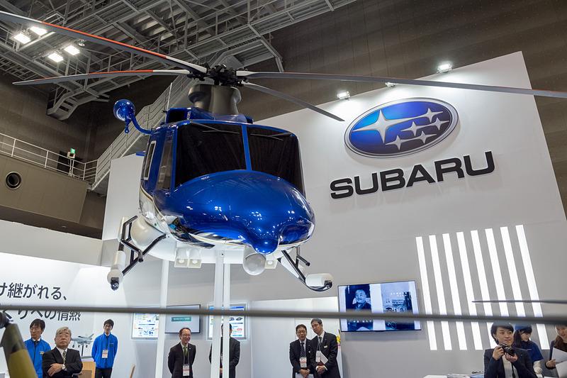 SUBARUブースで展示された「ベル 412EPX」のモデルプレーン