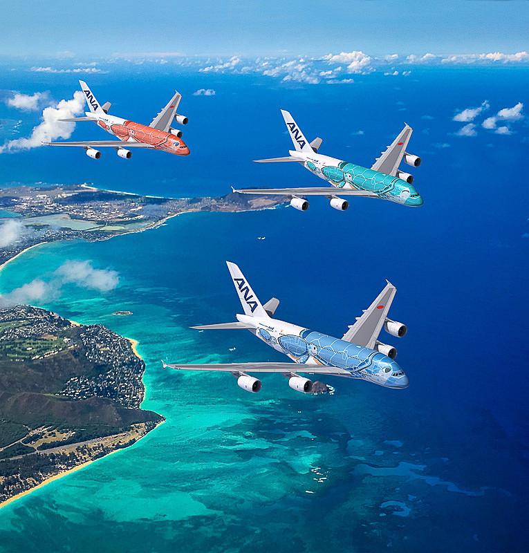 ANAが2019年春より導入を開始するエアバス A380型機の特別塗装機「FLYING HONU」