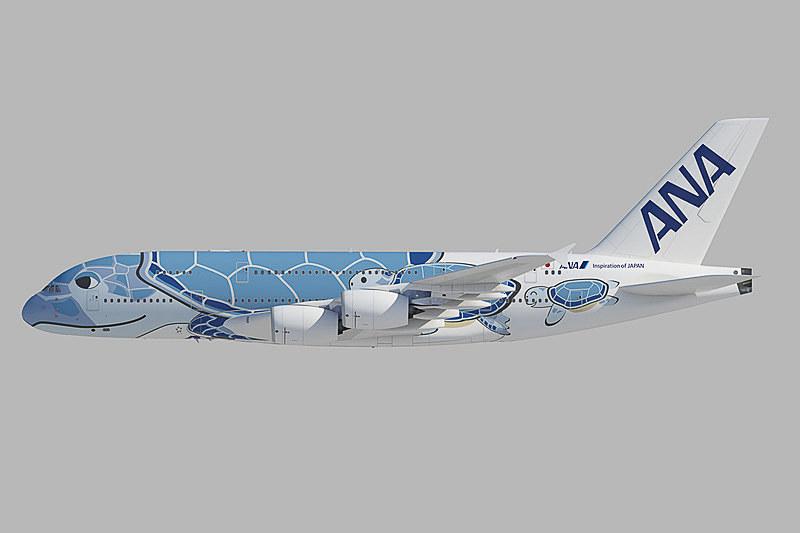 ANAのエアバス A380型機「FLYING HONU」の初号機は、ANAブルーで「ハワイの空」をイメージ